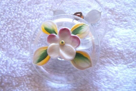 Czech  Glass  Button  1   Gorgeous   27mm   high enamel flowers  IVA 267