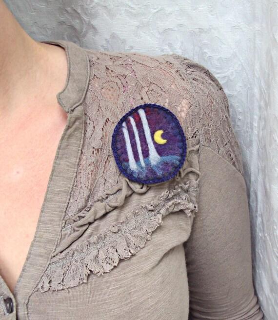Felt brooch, purple forest, wearable art, needle felted wool badge