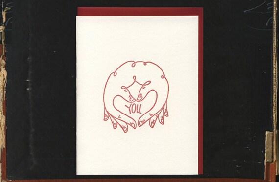 Love You Valentines Letterpress card
