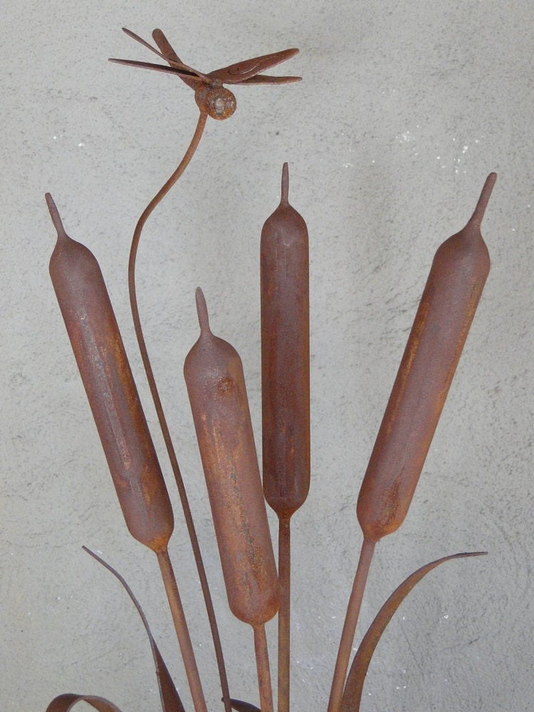 Cattails With Dragonfly Metal Garden Sculpture