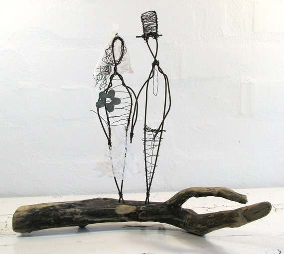 Wire Sculpture Wedding Gift. Metal and Driftwood Mixed Media Art. Folk Art Series. Rustic Wedding Decor.