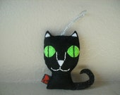 Cat Black Felt Halloween Decor Stuffed Softie Ornament Party Favor