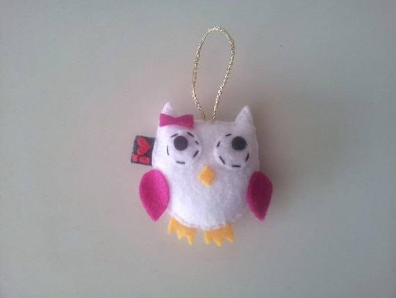 Eco Felt Owl White Pink Party Favor Softie Plushie Hanging Ornament
