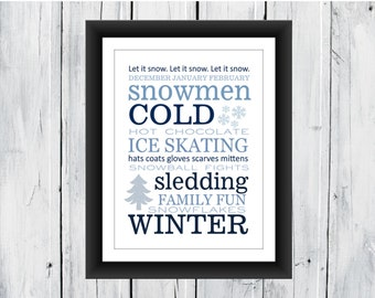 Winter Word Art Print - SEASONAL PRINT - Wall Decor