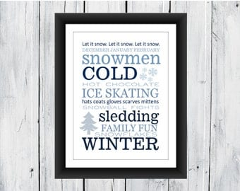 Winter Word Art Print - SEASONAL PRINT - Wall Decor