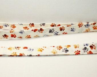Doggie paws Fabric Lanyard -  teachers lanyard - dog lover lanyard - personalized fabric lanyard