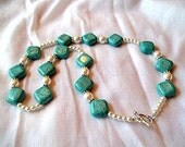 Diamond Shaped Turquoise Chunk Necklace