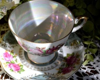 Vintage Luster-Ware Hand Decorated Fine Bone China Tea Cup and Saucer, Light Jade, Roses Vine Motif, Gold Gilt, Japan