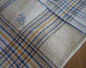 2 Danish Denmark  Linen Towels Blue and Yellow Stripes Monogram JG Kitchen Dish Cloth Napkin Wrap Bath Cloth Torchon Free Shipping Worldwide