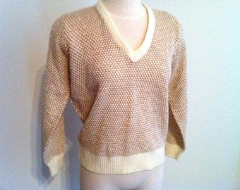 Women's Sweater, Ladies' Gold and Tan Sweater, 60's, Cream Colored Sweater, Wilroy Collection Vintage V-Neck Sweater, Pullover Sweater