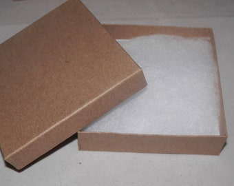 "pack of 20 3.5""x3.5""x1"" Kraft Cotton filled Jewelry Presentation Display Gift Boxes"