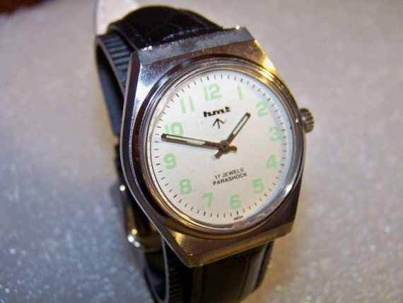 Vintage HMT MILITARY White Dial PARASHOCK Manual Wind Gents Watch  (Deal-of the Day)