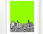 Calgary Alberta City Skyline Poster - Calgary Fine Art Print - VERSION 2