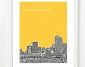 San Francisco Skyline Poster - Embarcadero - Pier 39 - Fisherman's Wharf - VERSION 4