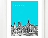 Lausanne Skyline Art Print - Lausanne City Skyline Poster - Switzerland Art