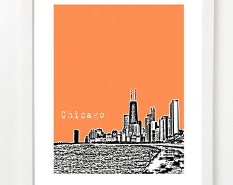 Chicago Skyline - Chicago City Skyline Poster - John Hancock Building - Illinois City Art - Chicago Art- VERSION 2