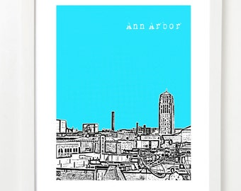 Ann Arbor Poster  - Ann Arborr City Skyline Art Print - Ann Arbor Michigan Graduation Gift