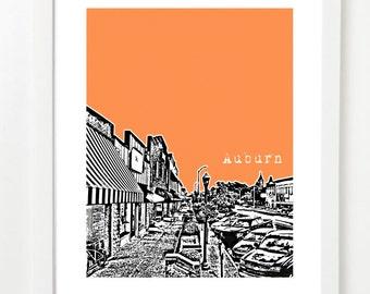 Auburn Poster - Alabama State City Skyline Series Art Print - Auburn Engagement Gift -