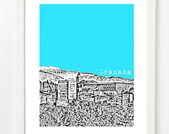Granada Spain -  City Skyline Art Print  - Granada Spain Poster -  Spanish Travel Art