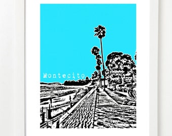 Montecito, California Print - City Skyline Poster - California State Art Series