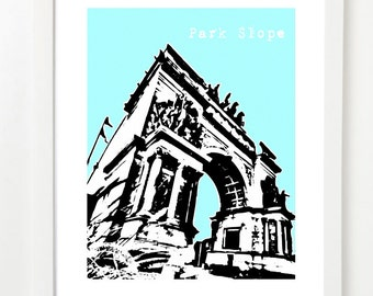 Park Slope Brooklyn Poster - New York City Skyline Art Print - 8x10