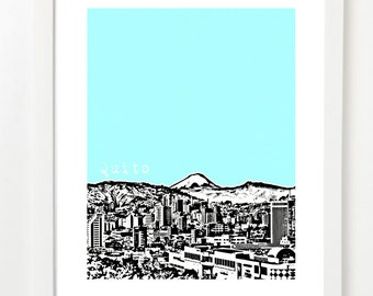 Quito, Ecuador Skyline Poster - Quito City Skyline Art Print  - VERSION 1