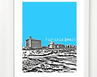 Virginia Beach Poster - Virginia Beach, Virginia Skyline City Art Print - VERSION 1