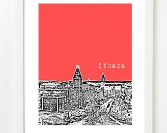 Ithaca New York Art Print - Ithaca Poster - Ithaca Skyline Art - Ithaca, NY