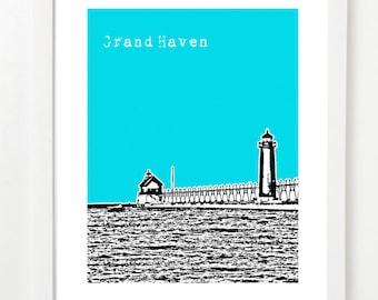 Grand Haven Poster - Grand Haven Michigan Skyline Print - Lake Michigan