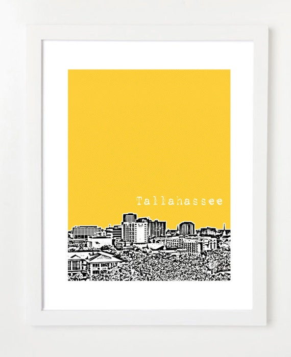 Tallahassee Skyline Poster - Tallahassee City Skyline Art Print - Unique Graduation Gift -