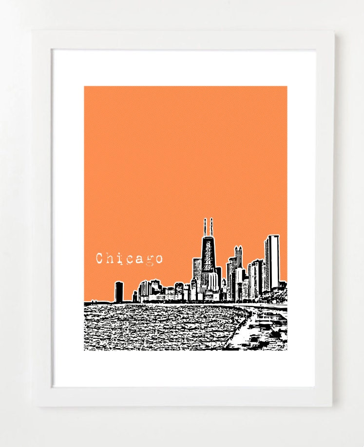 Chicago Skyline Chicago City Skyline Poster John Hancock