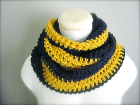Crochet  Navy Blue and Gold Hockey Football, Notre Dame, Buffalo Sabres, St. Louis Rams Colors Infinity Scarf, Men's Scarf, Unisex Scarf