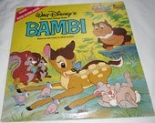 "Vintage Record - Childrens Record, Walt Disney's Story and Songs from Bambi  3903 / 12""  33 1/3 RPM 1980"