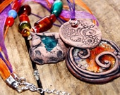 Gypsy Junk Carnival Necklace - Mixed Glass, Earthen Clay and Gemstone Beads on Ribbon and Twine.