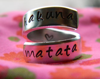 Hakuna Matata means no worries ring  //The original  one available in copper, aluminum, brass or aluminum