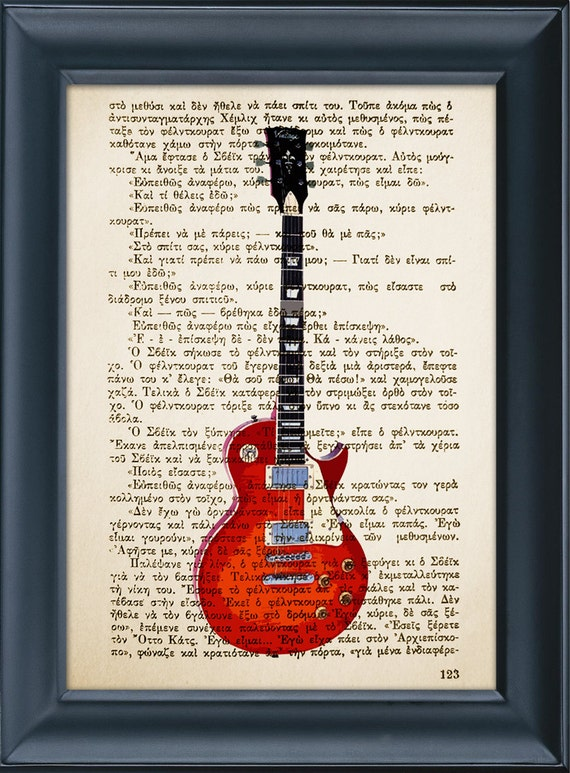 Vintage Electric Guitar on Vintage Book Page Print, Music Instrument, Wall Office Decoration, Buy 3 get 1 more for FREE 8.0x5.5in