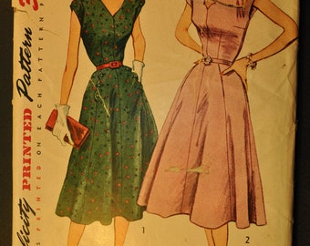 Misses' One-Piece Dress Size 14 Bust 32 Vintage 1950s Sewing Pattern-Simplicity 3900