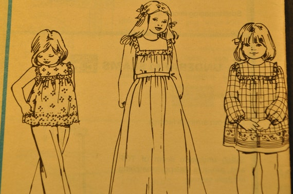 Children's and Girl's Dress or Top Size 3 Vintage 1970s Sewing Pattern-McCall's 5879