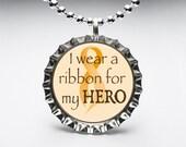 Bottle Cap, Necklace, Pendant, Handmade, Jewelry, Altered Art, Magnet, Leukemia Cancer Awareness