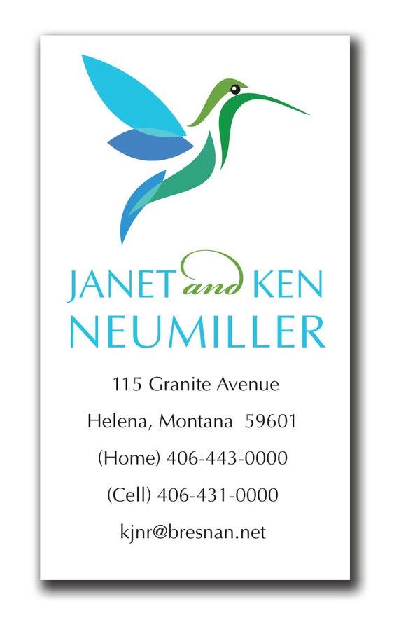 "Whimsical Hummingbird Calling Card (DIY digital file or printed) 2"" x 3.5"""