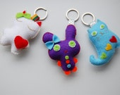 set of 3 cute keychains charms bag decor lovely 2 kittens and purple bunny little Christmas gifts