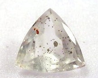 Quartz Trilliant with Pyrite Inclusions Faceted Gemstone - LS: QuPyrite17Trill