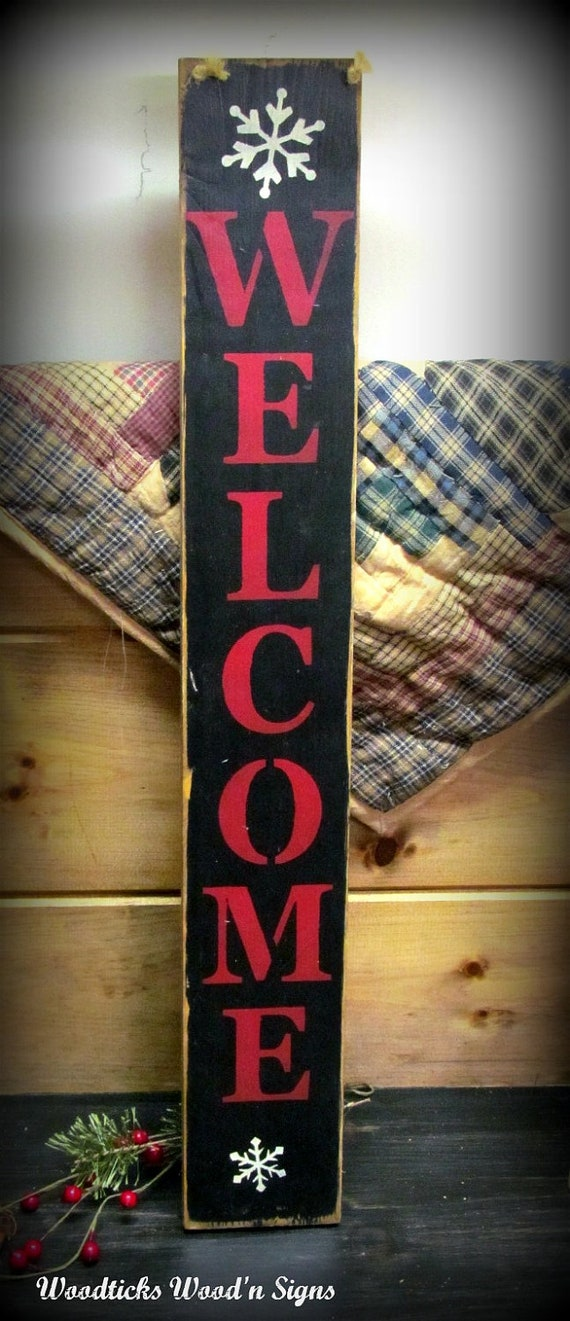 Items similar to Wood welcome Sign, Welcome vertical, Winter Decor Sign, Welcome front door ...