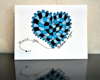 Thank you cards- Hearts for Jennifer set of 10