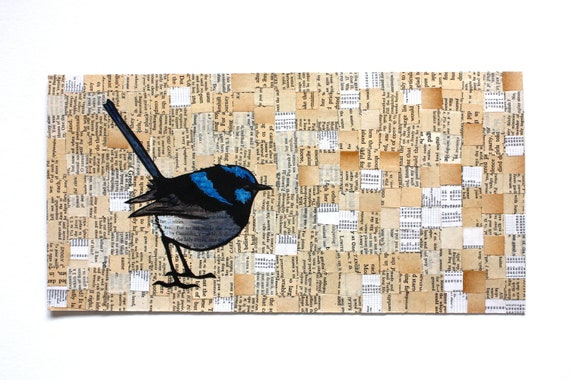 Original Lino Print Collage - Superb Wren - Australian Native Bird