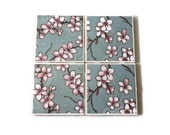 Cherry blossom ceramic coasters with cork backing