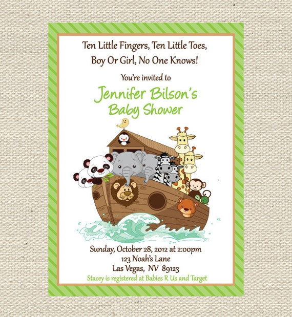 noah 39 s ark baby shower invitation printable