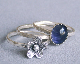 Iolite stacking ring set with silver flower - sterling silver - made to order - stack rings - gift for her
