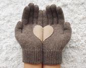 Heart Gloves, Dark Beige Gloves with Beige Felt Heart