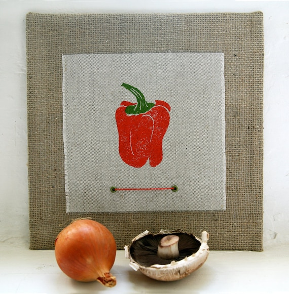 Kitchen Wall Decor In Red : Items similar to red bell pepper wall art kitchen decor